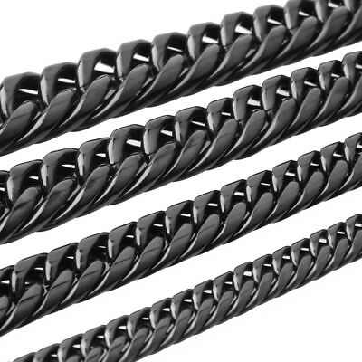 7/9/11/13mm Stainless Steel Black Cuban Curb Link Mens Chain Necklace