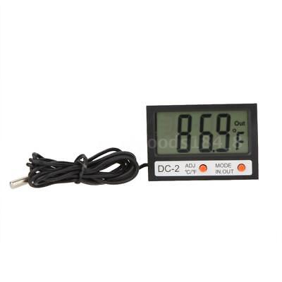 Indoor Outdoor LCD Digital Thermometer ℃/℉ Temperature Meter Clock w/ Probe F2M3