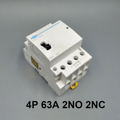 TOCT1 4P 63A 2NO 2NC Din rail Household ac contactor With Manual Control Switch