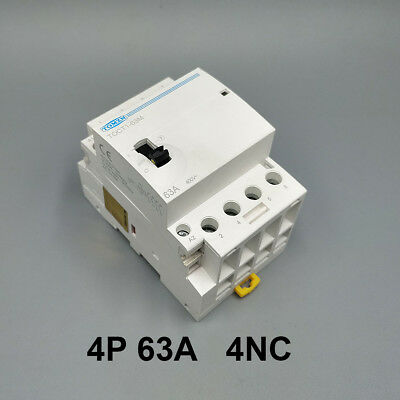 TOCT1 4P 63A 4NC Din rail Household ac contactor With Manual Control Switch