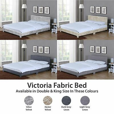 Victoria Double King Size Bed Frame 4FT6 5FT Upholstered Fabric Headboard Velvet