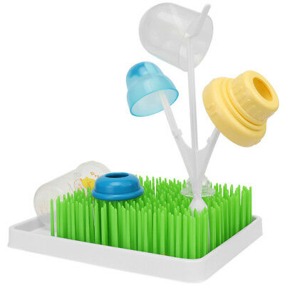 Baby Infant Bottle Pacifier Drying Rack Holder Lawn Grass Cleaning Dryer Shelf