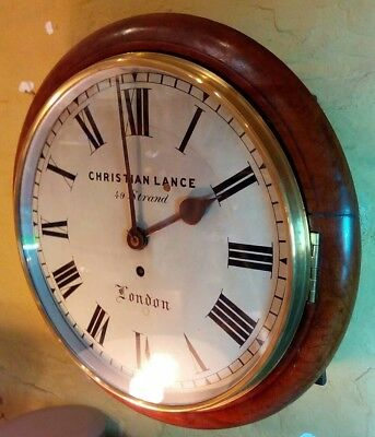 Antique wall clock with fusee movement, 8 day , non striking, fully serviced