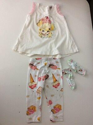 MONNALISA Girls Outfit, Size Age 18 Months, Ice Cream, Leggings Top Vgc