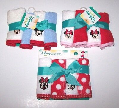 New Nwt Disney Minnie or Mickey Mouse Wash Cloths 4 Pack Bath Time Cute Boy Girl