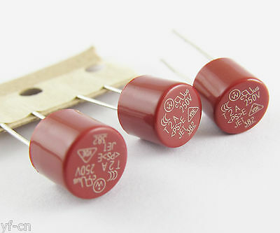 10pcs Capacitive Red Cylindrical Miniature Micro Slow Blow Time Delay Fuse 250V