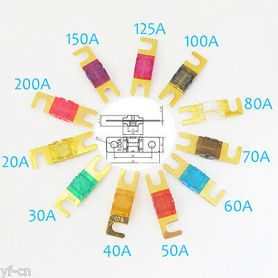 2pcs Gold Plated ANL Fuse For Car 20/30/40/50/60/70/80/100/125/150/200 Amp