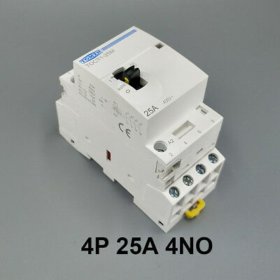 TOCT1 4P 25A 4NO 220V Din rail Household ac contactor With Manual Control Switch