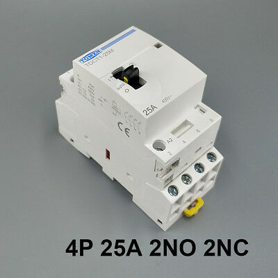 TOCT1 4P 25A 2NO 2NC Din rail Household ac contactor With Manual Control Switch