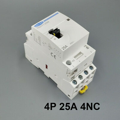 TOCT1 4P 25A 4NC Din rail Household ac contactor With Manual Control Switch
