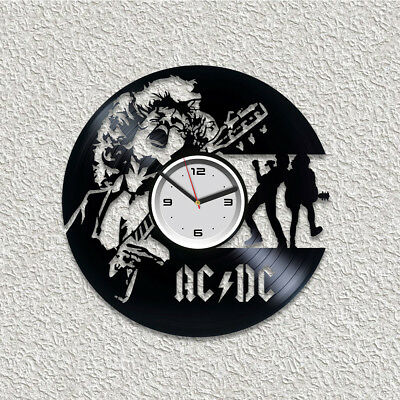 AC DC Vinyl Wall Art Clock Rock Band Gift For Here Handmade Xmas Gift Room Decor