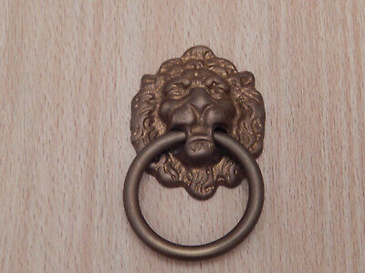 Drawer Ring Pull Lions Head  Aged Brass