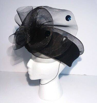 Wool Pillbox Church Hat Black With Tulle Sequins WPL 4384 Made In USA