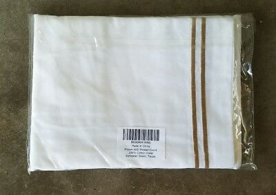 Pinzon 400-Thread-Count Egyptian Cotton Standard Sham, White w/ Taupe Stripe
