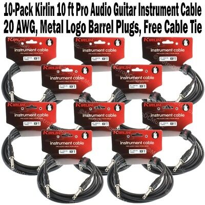 "10-Pack Kirlin 10ft Guitar Instrument Cable 1/4"" +Cable Tie Black Patch Cord 3m"