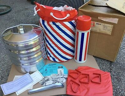 Vtg 70s 1977 UNION 76 Gas Station Regal Picnic Camping Thermos Mess Kit ORIG BOX