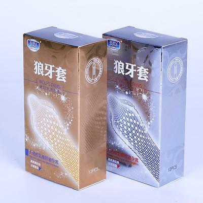 12PCS Big Particle 3D Spike Dotted Ribbed G Spot Latex Contraceptive Condoms