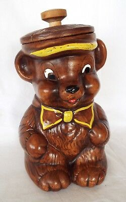 VINTAGE TREASURE CRAFT Teddy Bear Cookie Jar Mid Century Modern Wood Knob