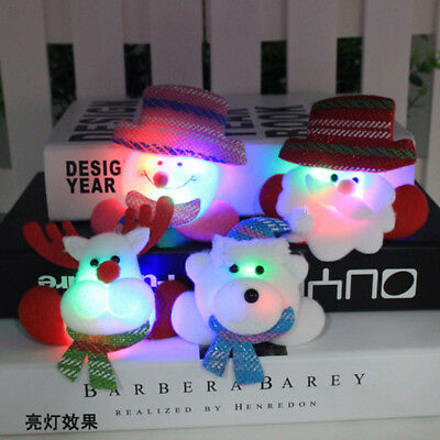4pcs Christmas Party Decoration Lighting LED Brooch Jewelry Badge Pin Gift
