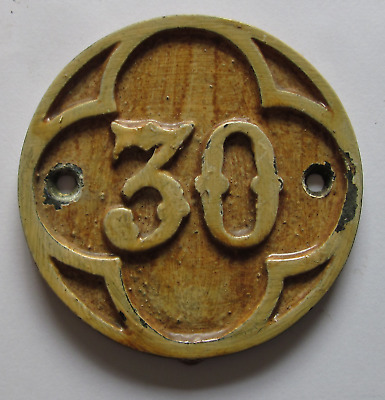 Antique Solid Brass Circular Pew Number Plates