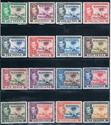 Gambia - British Colonial - Complete Set Of 16 Old Stamps Mh Cv 77 $ ( Gamb 32 )