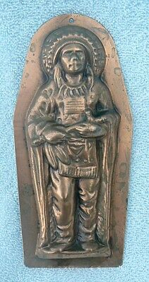 Antique Copper Candy Mold England Native American Indian Chief W/Peace Pipe
