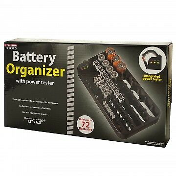 Battery Organizer With Power Tester Holds Up To 72 Battery Of All Sizes