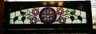 Antique Stained And Jeweled Floral Arch Window 12 By 37