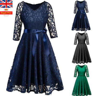 UK Women V Neck Lace Mini Dress Ladies Cocktail Evening Party Holiday Swing Gown