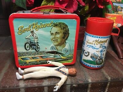 RARE!! Vtg. 1974 Evel Knievel Dare Devil Metal Lunchbox W/ Thermos & Figure Toy