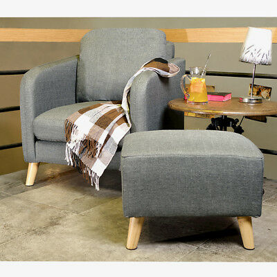 Fabric Linen Upholstered Accent Tub Chair Cushion Sofa+Footstool Ottoman Lounge