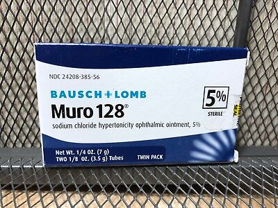 * NEW Bausch & Lomb Muro 128 5% Ointment 1/8 oz 3.5g Exp April 2020 Twin Pack