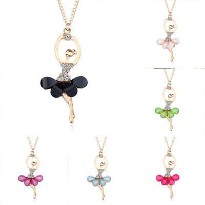 Fashion Crystal Ballet Pendant Girl Charms Gold Plated Necklace Chain For Women