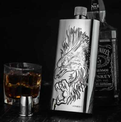 Luxury Big Beautiful Hip Flask For Whisky Vodka 500 ml Eagle Cover