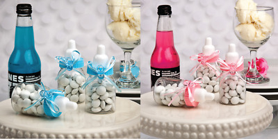8 x BABY BOTTLE FAVOURS BABY SHOWER GENDER REVEAL BLUE PINK OR MIXED