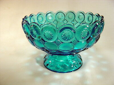 "Vintage Blue Glass Footed Bowl ~ LE Smith Moon & Star ~ 8"" Diameter ~ Gorgeous!"