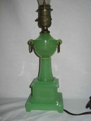Vtg Green Glass Electric Table Lamp Antique Night