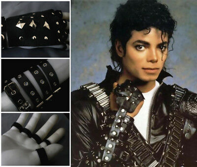 3b0650366fb MJ Michael Jackson Classic Fashion Real Leather Handwork BAD Punk Rivet  Gloves