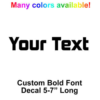 YOUR TEXT Vinyl Decal Sticker Car Window NAME Personalized Lettering Square Bold