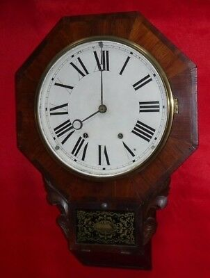 Antique 8 Day New Haven Octagonal Schoolhouse Wall Clock Regulator Working Conn.