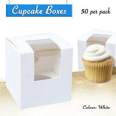 Cupcake Box 1 Hole W/Inserts Qty 50 Window Face Cake Boxes Cupcake Boxes Boards