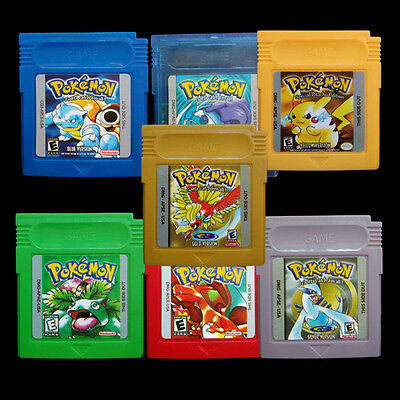 7 Version Pokemon Cartridge For Nintendo Game Boy Girl Color Yellow/Gold/Red New