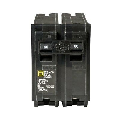 Square D Homeline 60 Amp 2-Pole Circuit Breaker Plug-on Design Easy-to-install