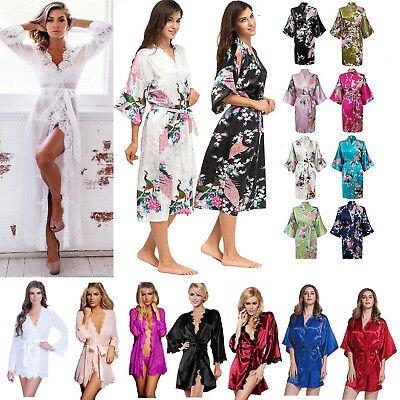 Womens Bridesmaid Satin Robe Kimono Wedding Nightdress Nightwear Dressing Gown