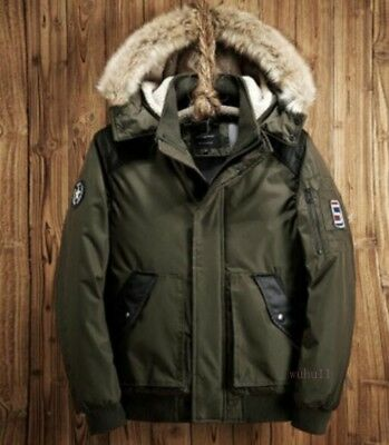 Men Down Cotton Padded Coat Chic Overcoat Hooded Fur Collar Army Parka Jackets