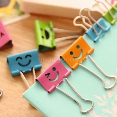 50PCS Small Size 19mm Smile Metal Binder Clips Paper Clip Clamp Book Assorted