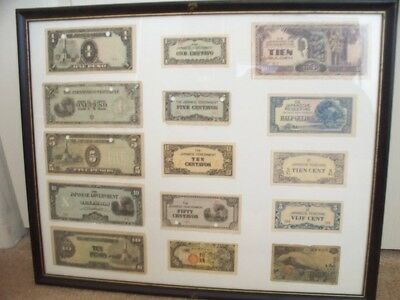 JAPANESE INVASION MONEY World War II - 15 Note Collection Framed Navy Veteran