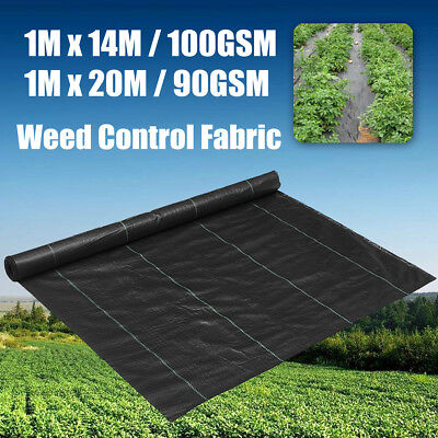 1M Weedmat Weed Control Mat Woven Fabric Gardening Plant Cover 14m/20m 90/100gsm