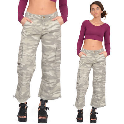 New Womens Army Military Beige Camouflage Cargo Combat Shorts 3/4 Trousers Pants