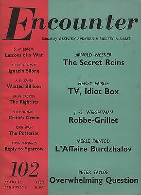 ENCOUNTER MAGAZINE (March 1962) ARNOLD WESKER-COLIN MacINNES- TV THE IDIOT BOX